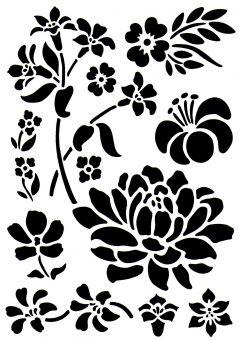 Universale wand mal motiv schablonen stencils blumen hobby bastel mix shop - Schablonen wand ausdrucken ...