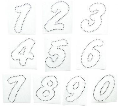 Hotfix Strass-Steine Bügelbilder/Bügelmotive Applikation Zahl